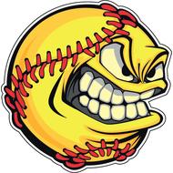 Наклейка Злобный бейсбольный мяч, фото 1