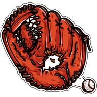 Наклейка Пробитая бейсбольная перчатка, фото 1