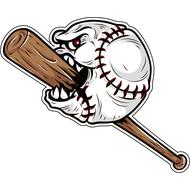 Наклейка Бейсбольный мяч жрет бейсбольную биту, фото 1