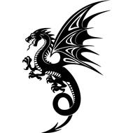 Наклейка Дракон с крыльями-084, фото 1