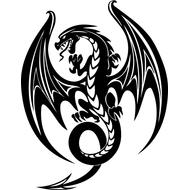 Наклейка Дракон с крыльями-085, фото 1