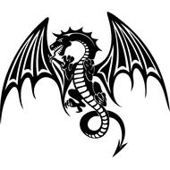 Наклейка Дракон с крыльями-086, фото 1