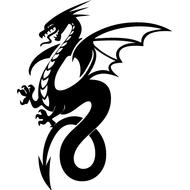 Наклейка Дракон с крыльями-087, фото 1