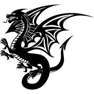 Наклейка Дракон с крыльями-088, фото 1