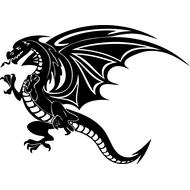 Наклейка Дракон с крыльями-089, фото 1