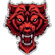 Наклейка Красный Волк, фото 1