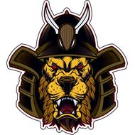 Наклейка Лев в самурайском шлеме, фото 1
