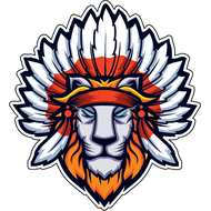 Наклейка Лев с индейскими перьями, фото 1