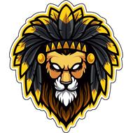 Наклейка Лев с желтыми перьями, фото 1