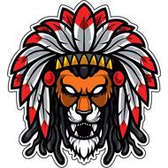 Наклейка Лев с красными перьями, фото 1