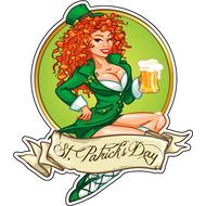 Наклейка Ирландская девушка с пивом, фото 1