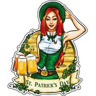 Наклейка Девушка с тремя кружками пива, фото 1