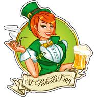 Наклейка Девушка в цилиндре  с трубкой и пивом, фото 1