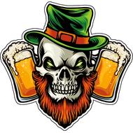 Наклейка Бородатый череп и пиво, фото 1
