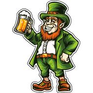 Наклейка Веселый Лепрекон с пивом, фото 1