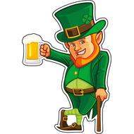 Наклейка Лепрекон с тростью и пивом, фото 1