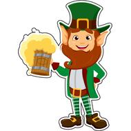 Наклейка Бородатый лепрекон с кружкой пива, фото 1
