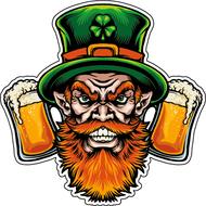 Наклейка Бородатый лепрекон с пивом, фото 1