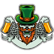 Наклейка Скелет бородатого лепрекона с пивом, фото 1