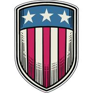 Наклейка Щит с шлагом США, фото 1