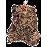 Наклейка Ревущий медведь, фото 1