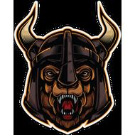 Наклейка Медведь в шлеме с рогами, фото 1