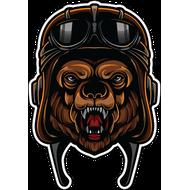 Наклейка Медведь в мотошлеме, фото 1