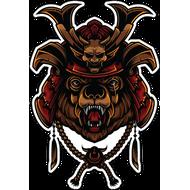 Наклейка Медведь в самурайском шлеме, фото 1