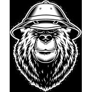 Наклейка Медведь в колониальном шлеме, фото 1