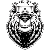 Наклейка Медведь матрос, фото 1