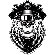 Наклейка Медведь полицейский, фото 1