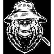 Наклейка Медведь в деревенской панаме, фото 1