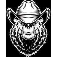 Наклейка Медведь в белой ковбойской шляпе, фото 1