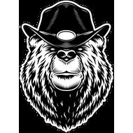 Наклейка Медведь в черной ковбойской шляпе, фото 1