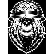 Наклейка Медведь в армейском шлеме, фото 1