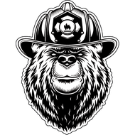 Наклейка Медведь пожарный, фото 1