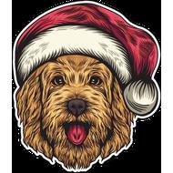 Наклейка Собака в новогоднем колпаке, фото 1