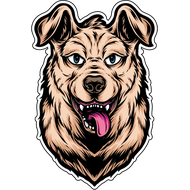 Наклейка Собака с языком, фото 1