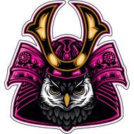 Наклейка Филин в самурайском шлеме, фото 1
