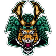 Наклейка Тигр в самурайском шлеме, фото 1