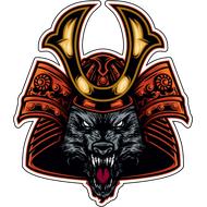Наклейка Волк в самурайском шлеме, фото 1