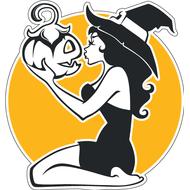 Наклейка Ведьмочка с тыквой, фото 1