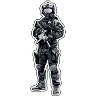 Наклейка Солдат с автоматом и в противогазе, фото 1