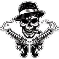 Наклейка Череп гангстера и два дымящихся ствола, фото 1