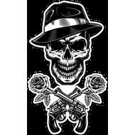 Наклейка Череп гангстера, два ствола и розы, фото 1