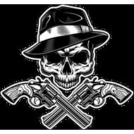 Наклейка Череп гангстера и два ствола, фото 1