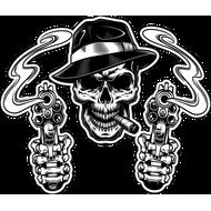 Наклейка Череп гангстера с сигарой и два дымящихся ствола, фото 1