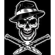 Наклейка Череп гангстера и два клинка, фото 1