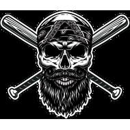 Наклейка Бородатый череп в бандане и две бейсбольные биты, фото 1