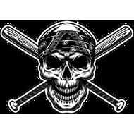 Наклейка Череп в бандане и две бейсбольные биты, фото 1